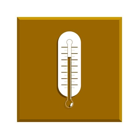 warmly: Flat style with long shadows, thermometer vector icon illustration