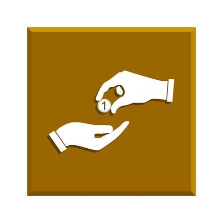 avarice: Flat icon, give alms,  Illustration