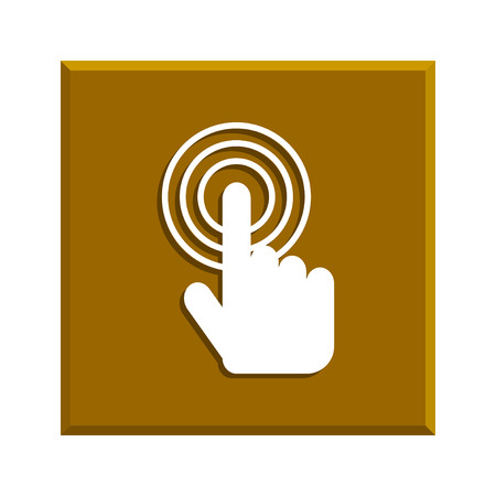 Sign emblem illustration. Hand with touching a button or pointing finger