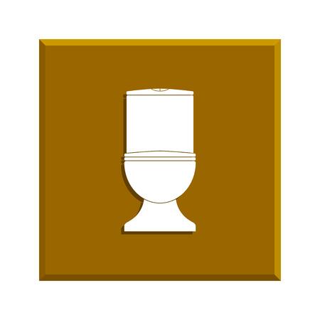 woman on toilet: Toilet icon. Flat design style