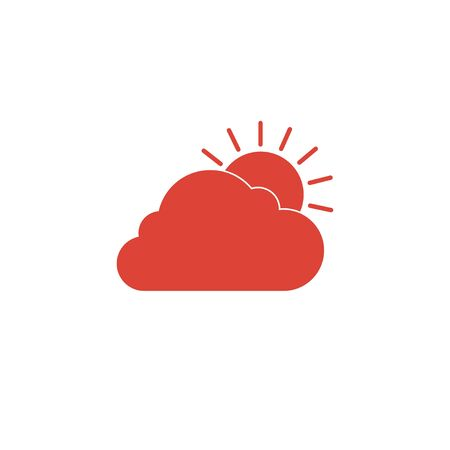 rooster and morning sun: sun cloud icon. Flat design style  Illustration