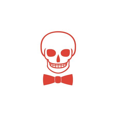 cross ties: Skull icon isolated, tie. Flat design style