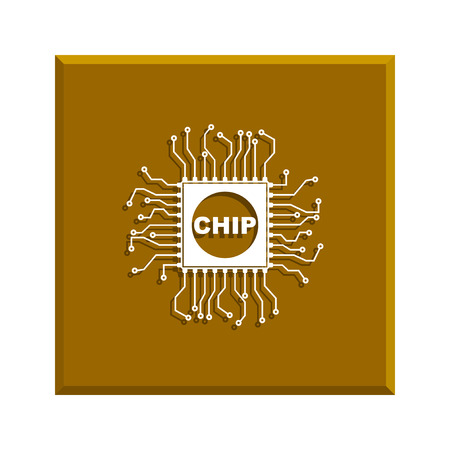 chipset: Vector chip icon, isolated vector  illustration