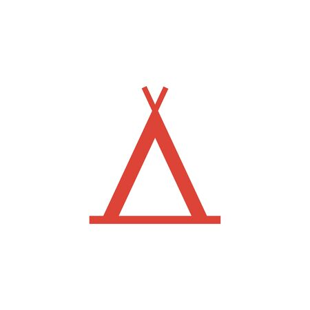 excursion: camp icon. Flat design style