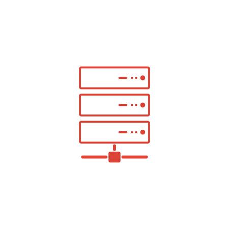 gigabyte: Computer Server icon, flat design. Vector Illustration