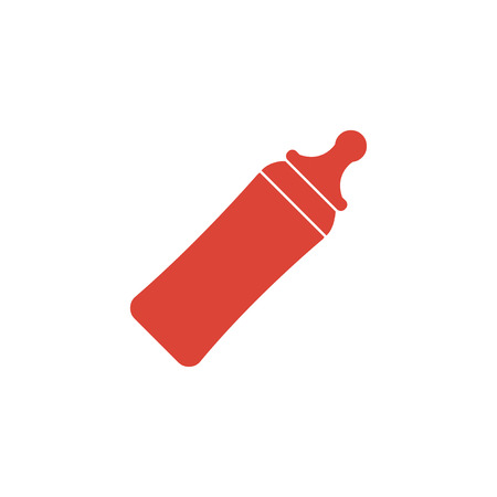 pediatrics: Baby milk bottle icon. Flat design style