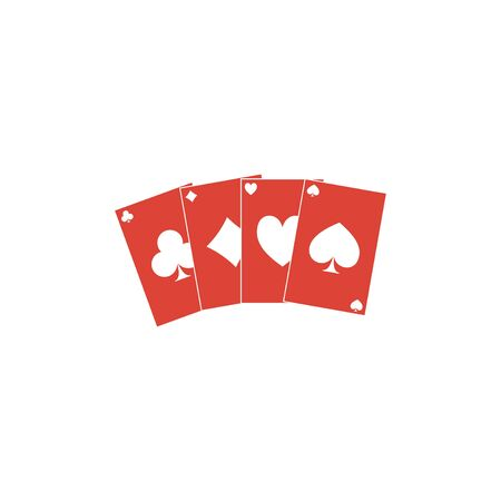 bad fortune: playing cards icon. Flat design style