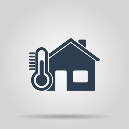 Home icon with thermometer icon. Flat design style. Çizim