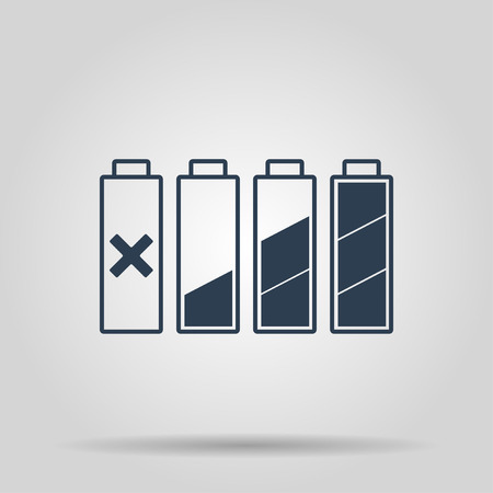 cadmium: Set of battery charge level indicators. Vector illustration. Illustration