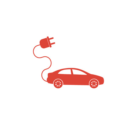 clean energy: electric car icon. Flat design style eps 10