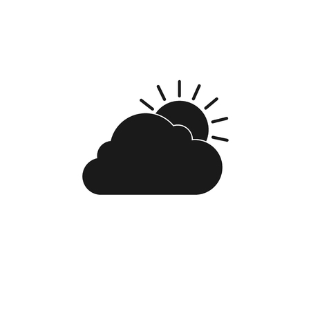 rooster at dawn: sun cloud icon. Flat design style eps 10