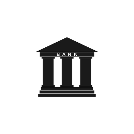 pillars: Bank icon in flat style with the building facade with three pillars illustration