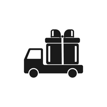 wagon: truck with a gift vector icon EPS
