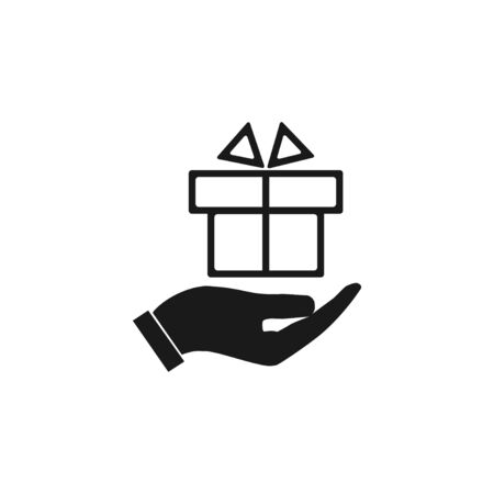 eps vector icon: hand and gift vector icon. EPS 10 Illustration