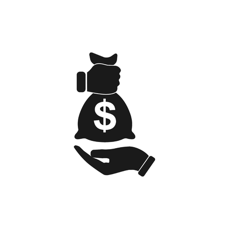 dollar bag: Pictograph of money in hand. Flat design style