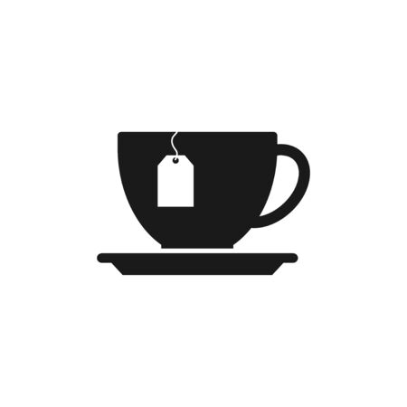 flavorful: cup with tea bag . Flat design style eps 10