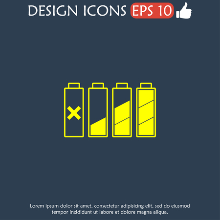 watts: Set of battery charge level indicators. Vector illustration. Illustration
