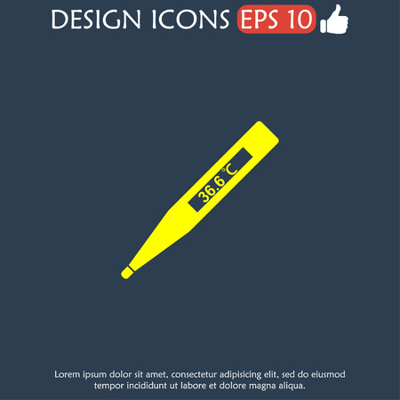 indication: Vector icon of electronic thermometer with indication.