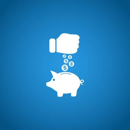 cash on hand: piggy bank and hand with coin black icon.vector illustration