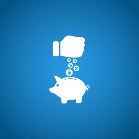 Sparschwein und Hand mit Münze schwarzen icon.Vector illustration