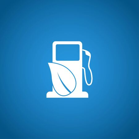 refuel: Gas station with leaves icon. Flat design style. Illustration