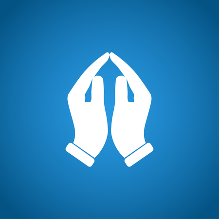 alabanza: Manos de rogaci�n icono, ilustraci�n vectorial. Estilo de dise�o Flat