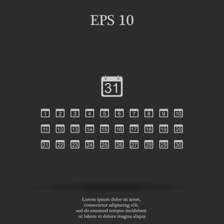 agenda year planner: Flat vector calendar icon. Design style EPS Illustration