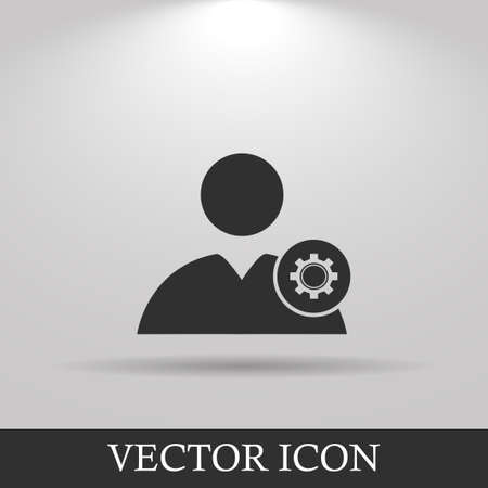 user icon: Gears icon, User icon. Flat design style