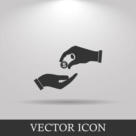 avarice: Flat icon, give alms,  Illustration EPS 10