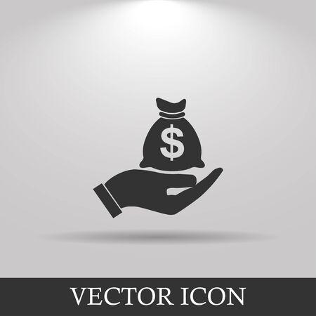 holds: Money insurance sign. Hand holds cash bag in Dollars symbol. Modern UI website navigation. Illustration