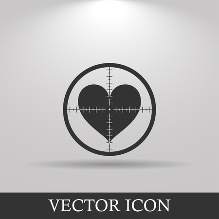 seduction: Illustration of a crosshair icon with a heart Illustration