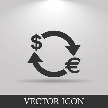 refresh rate: Money convert icon. Euro Dollar. Flat design style