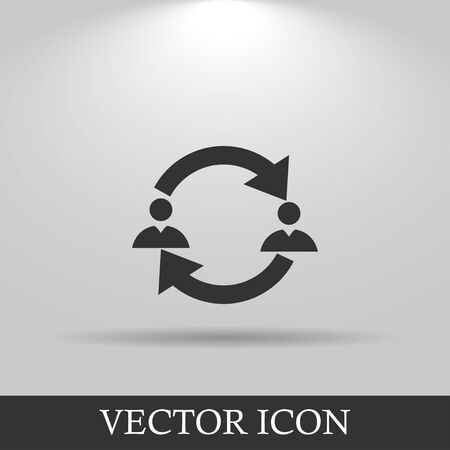 exchanging: Business communication. Conceptual illustration. Profile users connected icon. Social icons. Men exchanging symbol