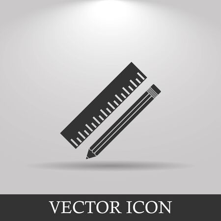 Pencil with ruler icon. Flat design style.