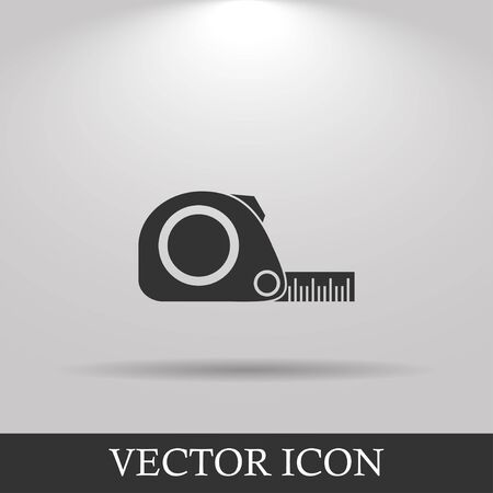 inches: Tape measure icon. Roulette construction  simbol. Flat Illustration