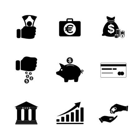 Money icons set. Flat design style eps