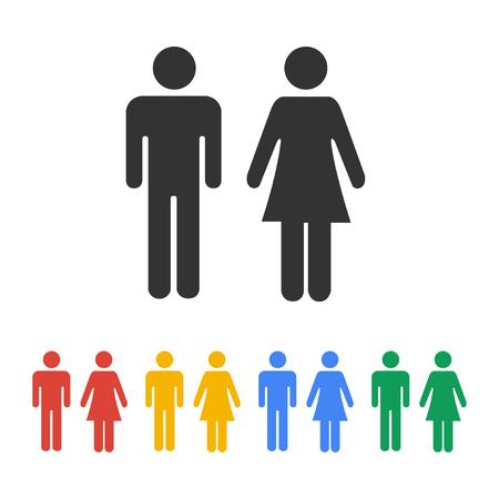男と女のアイコン、トイレのサイン、トイレ アイコン、シンプルなスタイル、ピクトグラムをベクトルします。
