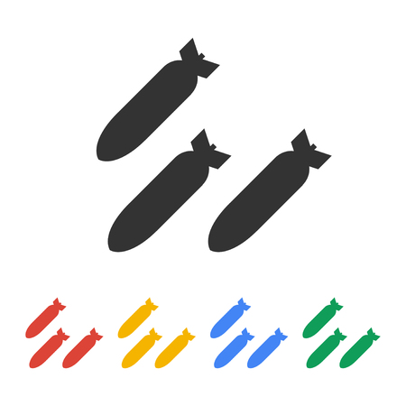anti nuclear: Air bomb vector icon. Flat design style eps 10 Illustration