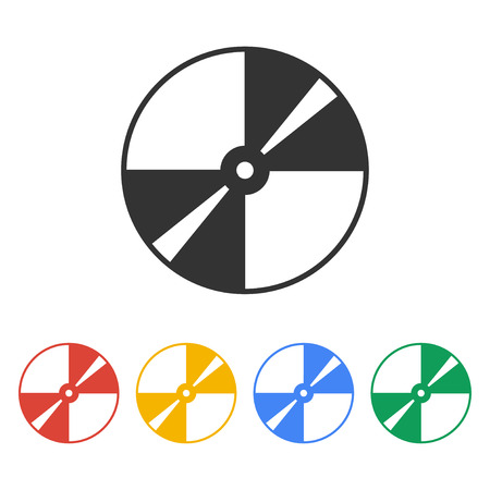 optical disk: Vector CD or DVD icon. Flat design style eps 10 Illustration