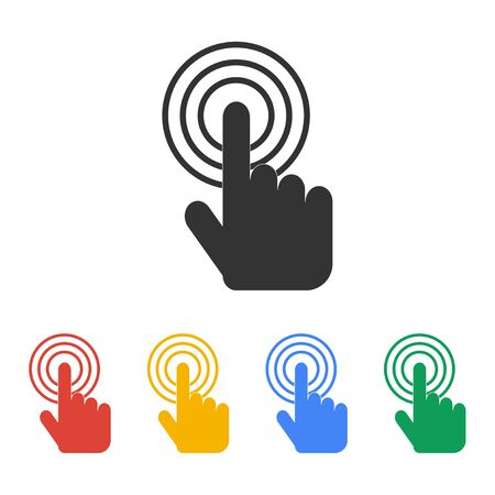 finger print: Sign emblem vector illustration. Hand with touching a button or pointing finger