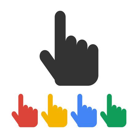 dedo apuntando: Regístrate ilustración vectorial emblema. Mano con tocar un botón o señalar con el dedo Vectores