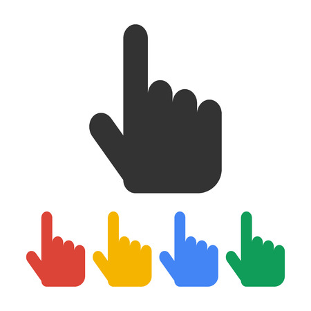 finger pointing: Sign emblem vector illustration. Hand with touching a button or pointing finger