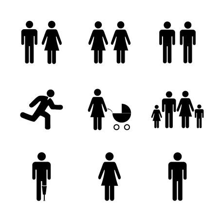 siluetas de enamorados: icono de la familia. Estilo de diseño Flat eps 10
