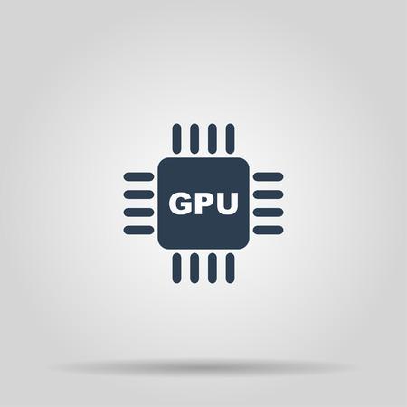 gpu: Circuit board  icon. Technology scheme square symbol. Illustration