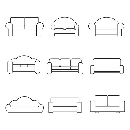 illustrator 10: Comfortable sofa Icons. Vector Illustrator. EPS 10