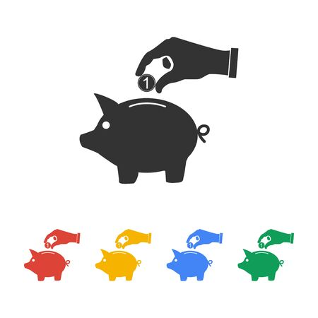 coins: piggy bank and hand with coin black icon.vector illustration