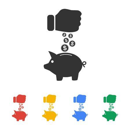 돼지 저금통과 동전 검은 손 icon.vector 그림