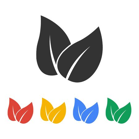 reversed: Leaf icon design. Flat design vector style.