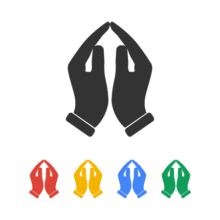 Praying hands icon, vector illustration. Flat design style Stock Illustratie