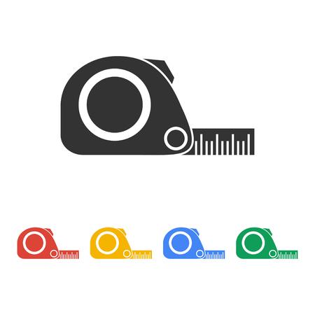 cinta de medir: Icono de la cinta métrica. Construcción simbol ruleta. Apartamento Vectores